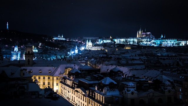 Prague, Night, Snow, Winter, Lights, City, History