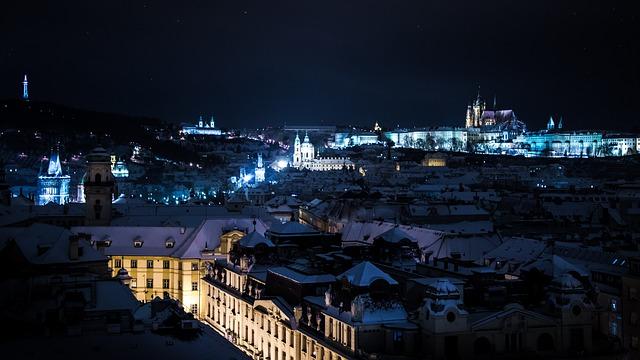 Prague, Night, Snow, Winter, Lights, City, History