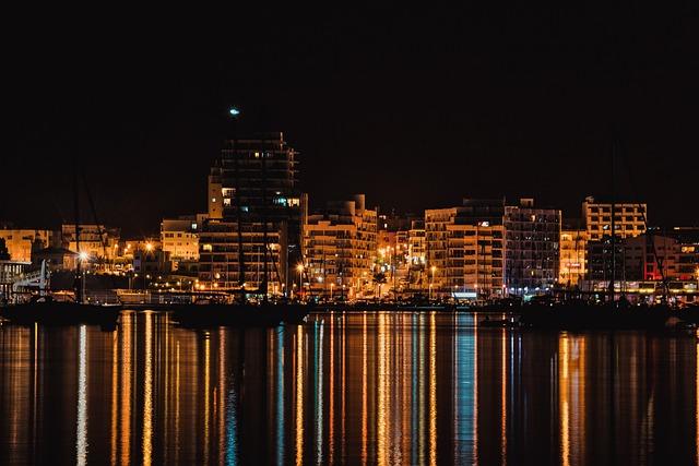 Ibiza, City, Night, Sea, Lights, Ships, Building