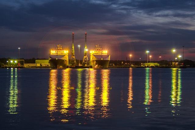 Ships, Port, Lights, Twilight, England, Southampton
