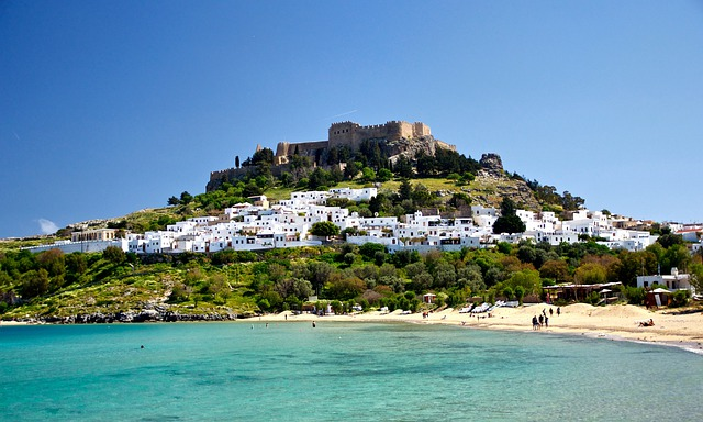 Lindos, Greece, Buildings, Castle, Architecture, Trees