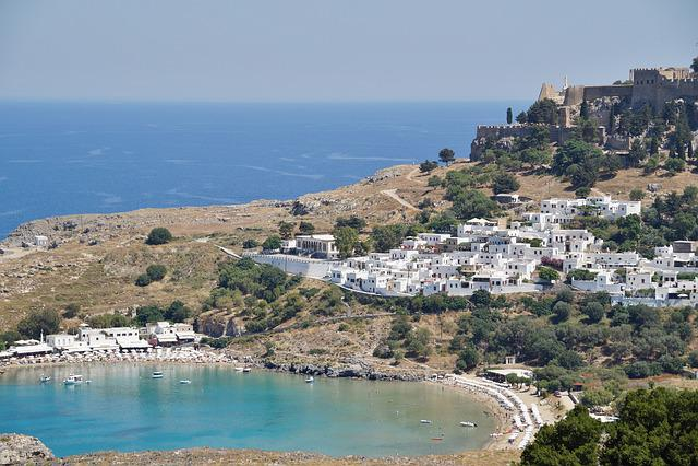 Greece, Rhodes, Lindos, Sea, Bay, Greek City