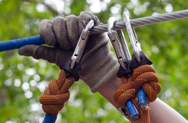 Climb, Adventure, Hand, Gloves, Rail, Line, Carabiner
