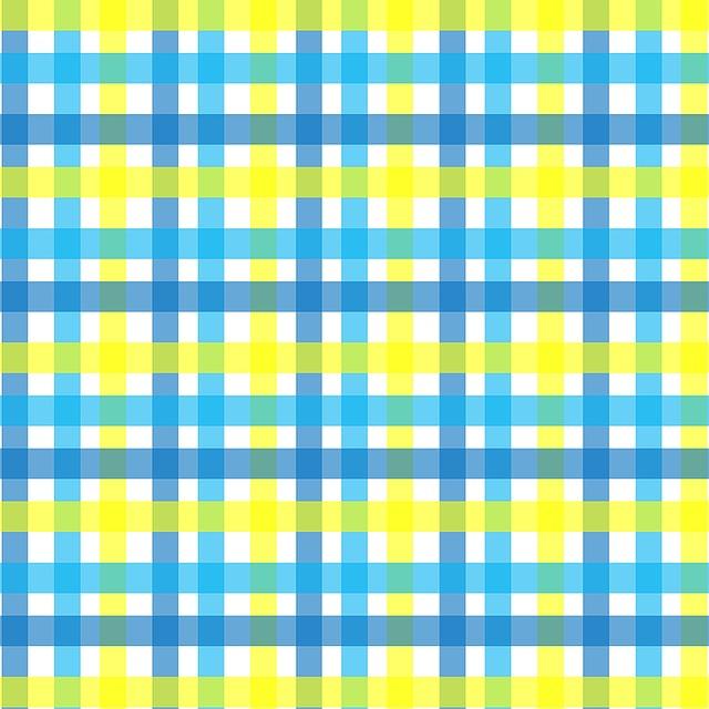 Gingham, Plaid, Yellow, Aqua, Blue, White, Lines