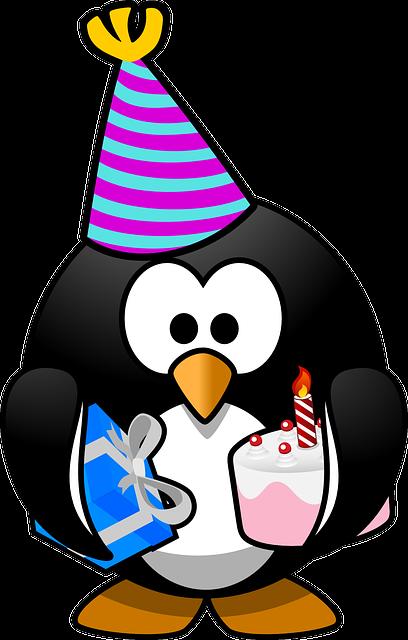 Linux, Tux, Anniversary, Bird, Birthday, Cake, Card