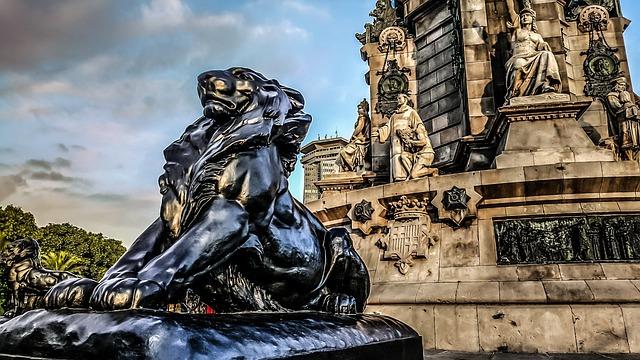Lion, Monument, Barcelona, Spain, Catalunya, Cat