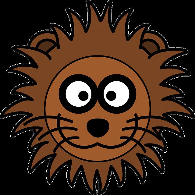 Lion, Head, Cat, Mane, Grinning, Zoo, Cartoon, Wildlife