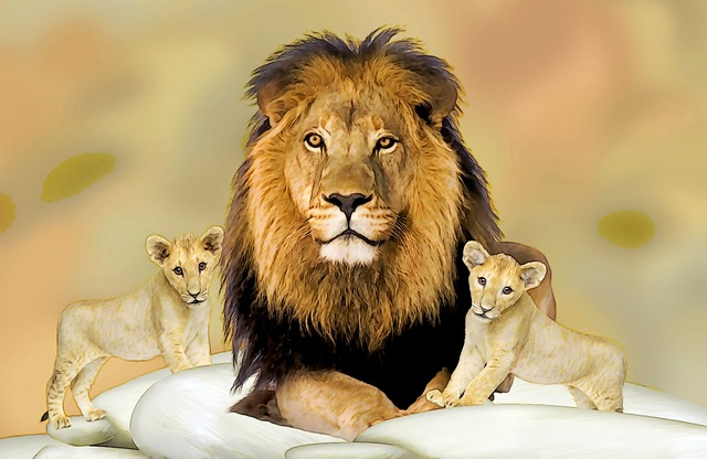 Drawing, Lion Father, Lion Kids, Wild Animals, Big Cats
