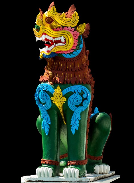 Stone Figure, Statue, Lion, Isolated, Thailand, Asia