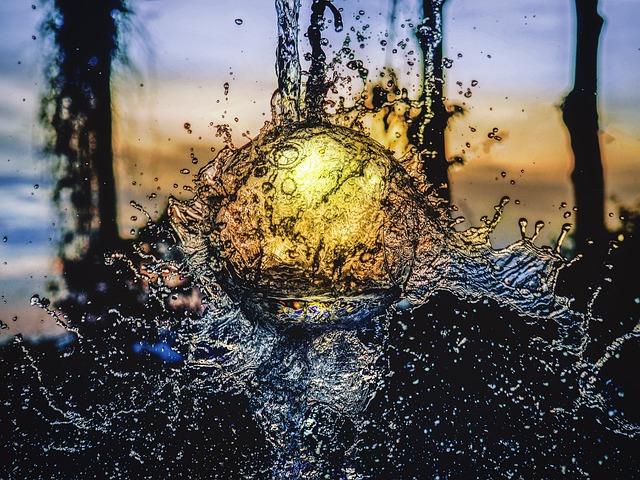 Sunset, Still Water Splash, Water Reflection, Liquid