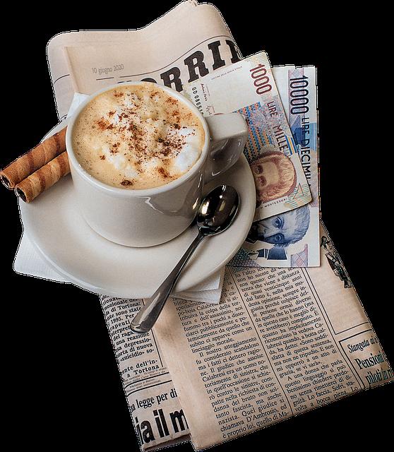 Italian Newspaper, Coffee, Lira, Business, Break, Table