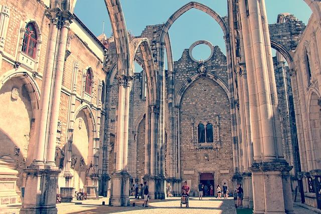 Lisbon, Carmelite Convent, Sky, Church, Religion