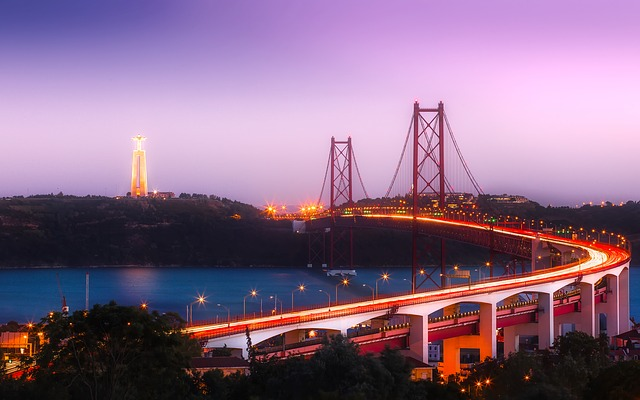 Lisbon, Portugal, City, Urban, Bridge, Sunset, Dusk