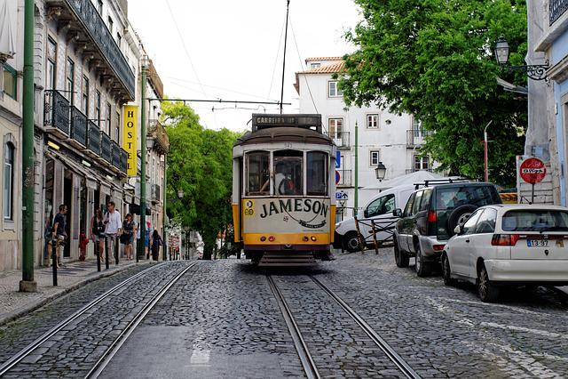Lisbon, Portugal, Old Town, Tram, Road, Street