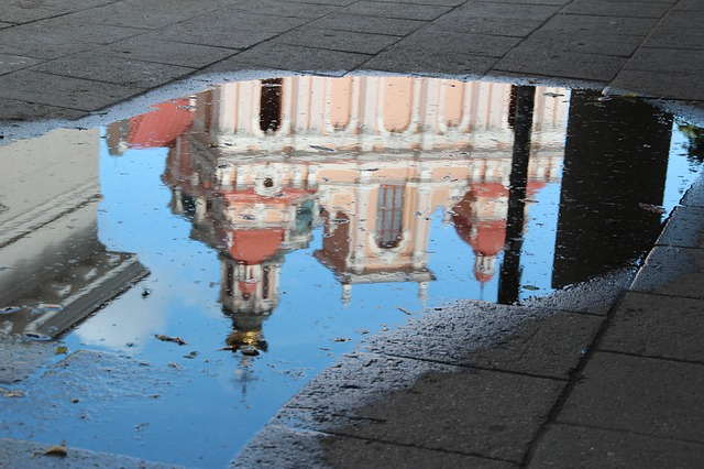 Lithuania, Vilnius, Mirroring, Puddle, Water