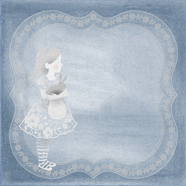 Background, Page, Template, Girl, Vintage, Little, Blue