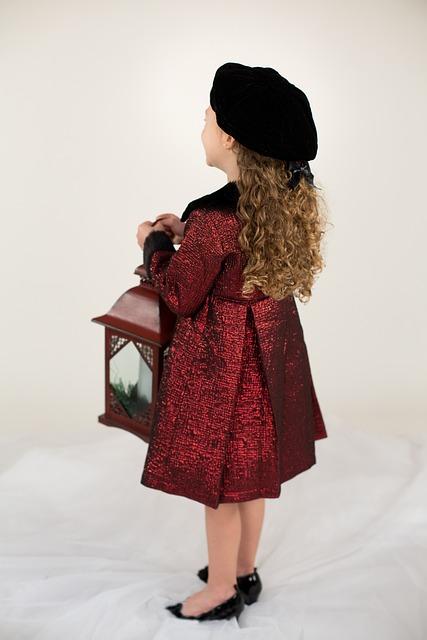 Little Girl, Red Coat, Lantern, Winter, Christmas, Hat