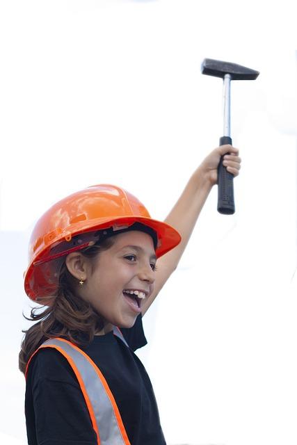 Worker, Little Girl, Hammer, Strength, Shipyard