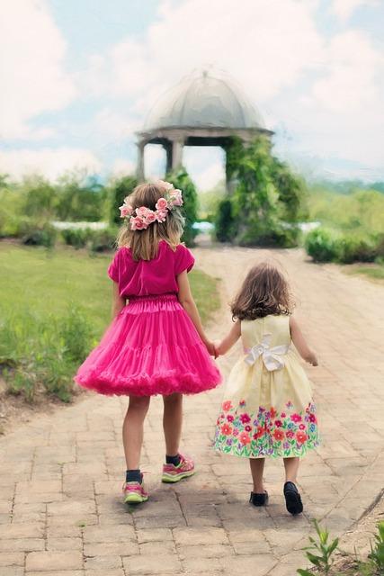 Little Girls Walking, Summer, Outdoors, Pretty