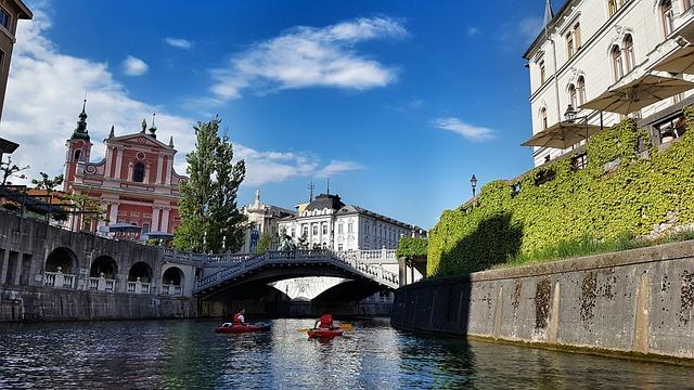 Ljubljana, River, Slovenia, Bridge, Laibach, Canoeing