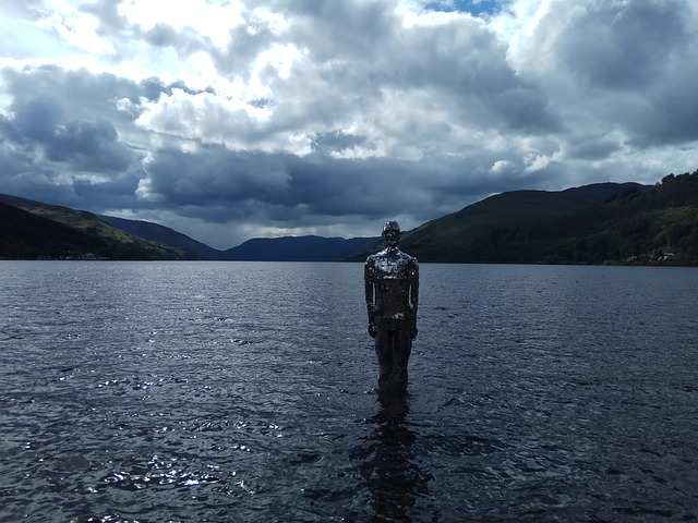 Sculpture, Loch, Lake, Figure, Man On The Loch