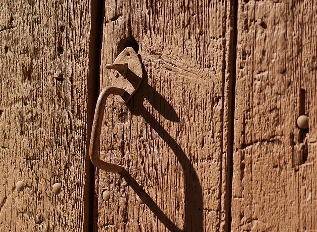 Door, Lock, Wooden Door