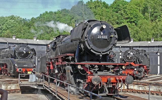 Steam Locomotive, Hub, Locomotive Shed, Railway