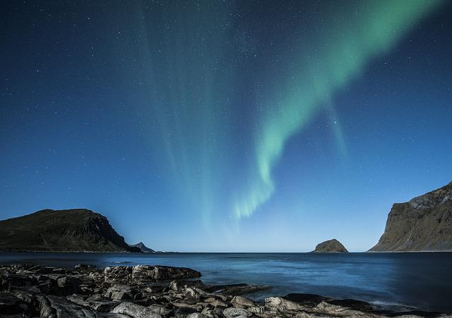 Aurora Borealis, Lofoten, Norway, Night, Beach, Costa