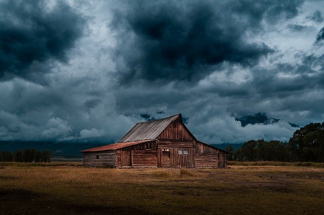Log, Cabin, Barn, Field, Rural, Countryside, Nature