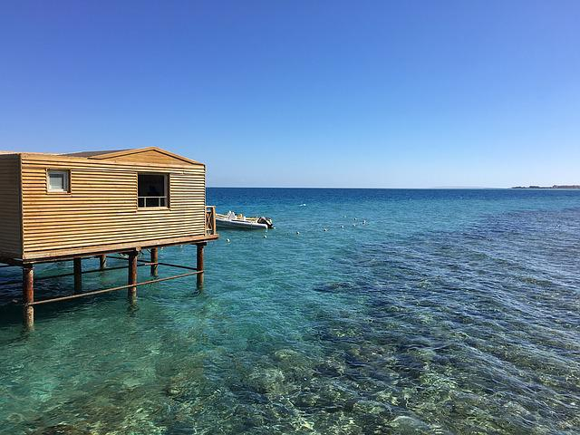 The Red Sea, Gradient, Hurghada, Sea, Log Cabin, Blue