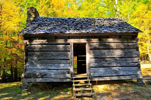 Cabin, Mountains, Smoky Mountains, Log Cabin, Smoky