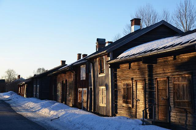 Skellefteå, Bonnstan, Log Homes, Winter
