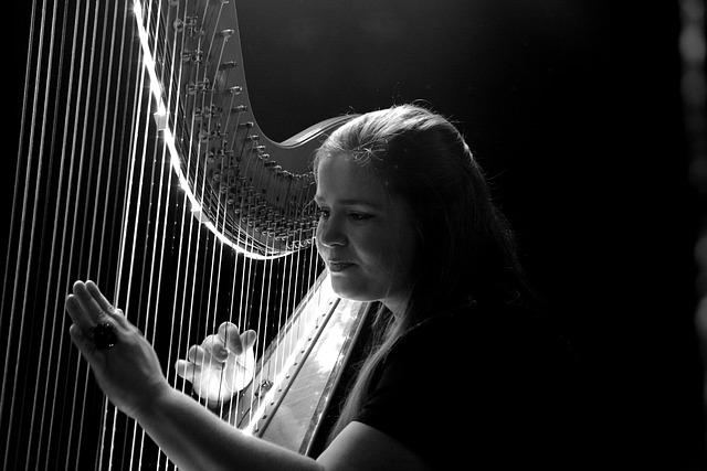 Woman, Music, Concert, Harp, Logo, Hamburg, Brysen