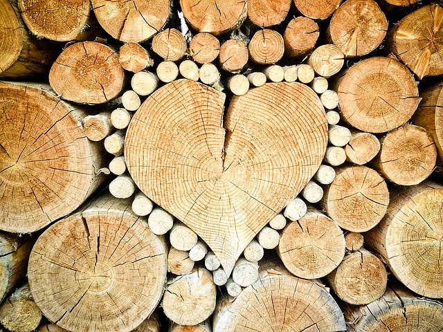 Heart, Wood, Logs, Combs Thread Cutting, Wood Pile