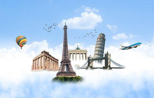 Eiffel Tower, Pisa Tower, London Bridge, Acropolis