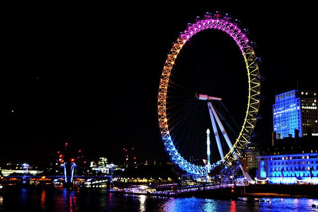London, England, Londoneye, Lights, Colors, Evening