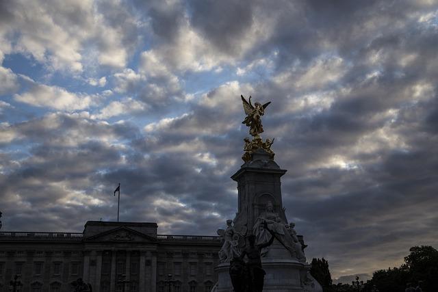 Buckingham, Statue, London, Skyline, Sunset, Clouds