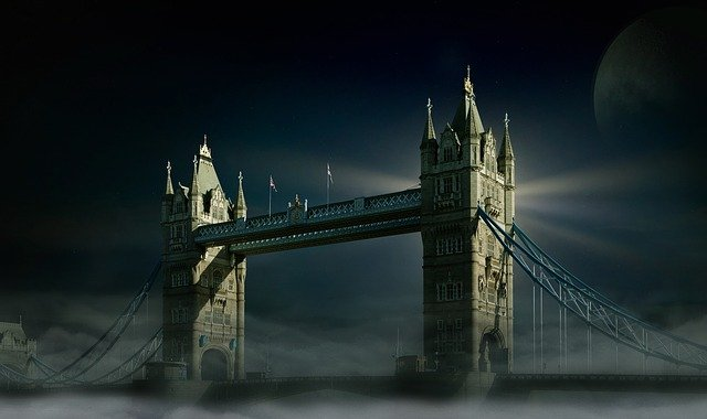 Tower Bridge, London, Moon, Fog, Sky, Luna, Full Moon