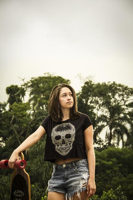 Model, Skateboard, Long Board, Woman, Girl, Long