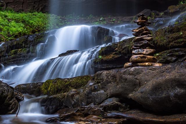 Cascade, Fall, Flowing, Green, Long Exposure, Moss