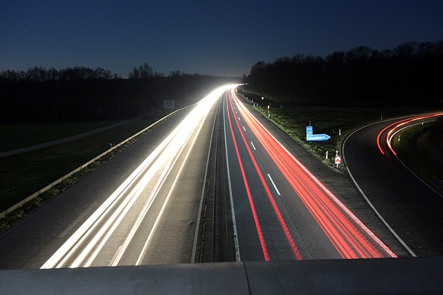 Night, Highway, Night Photograph, Long Exposure