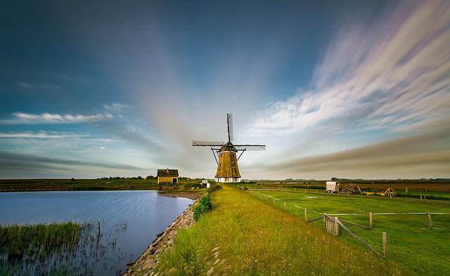 Long Exposure, Windmill, Pond, Weather, Clouds, Lake