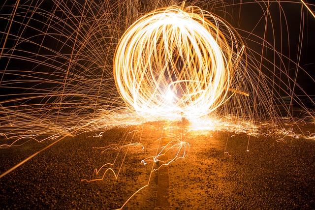 Sparks, Light, Long Exposure, Steel Wool