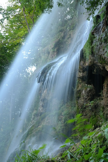 Waterfall, Urach Waterfall, Long Exposure, Water Veil
