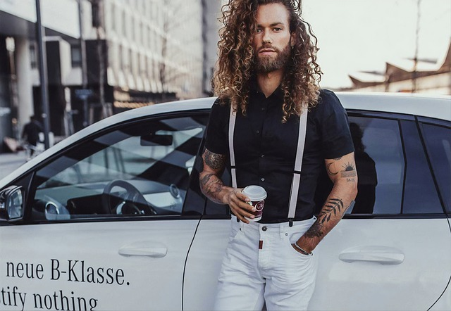 Man, Guy, Long Hair, Mercedes Benz, White Car, Car