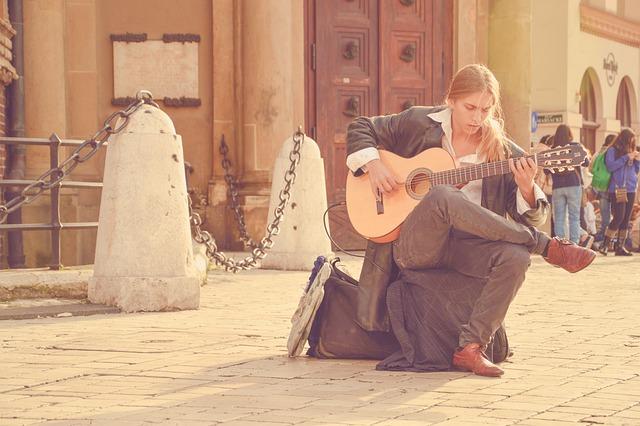 Acoustic Guitar, Blond Man, Long Hair, Music, Musician