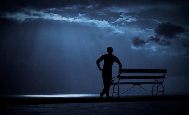 Relaxing, Watching, Looking, Man, Standing, Sky, Light