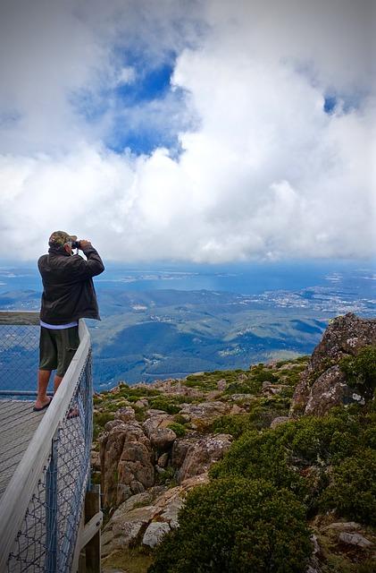 Lookout, View, Mountain, Height, Binoculars