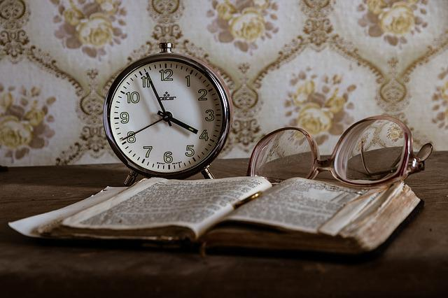 Clock, Retro, Glasses, Book, Lost Place, Old, Antique
