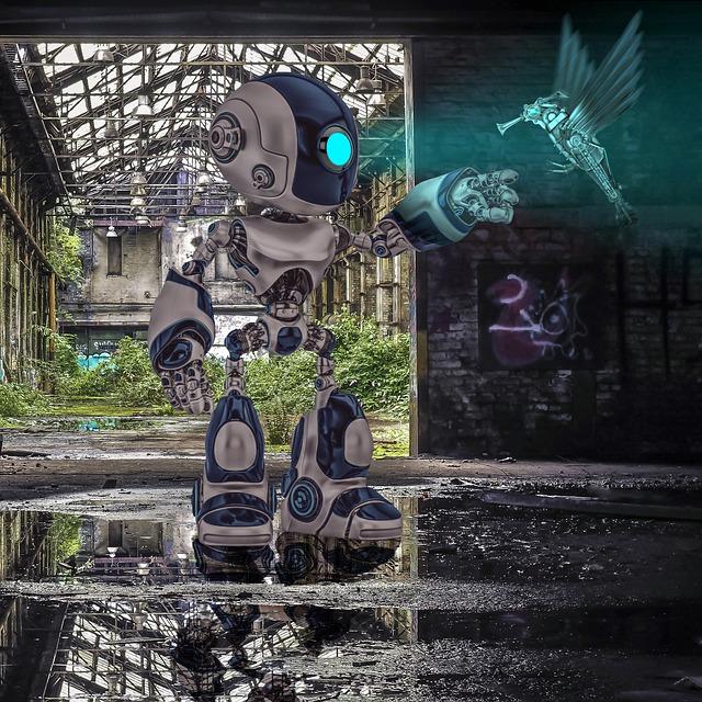 Robot, Bird, Hummingbird, Hall, Lost Place, Decay
